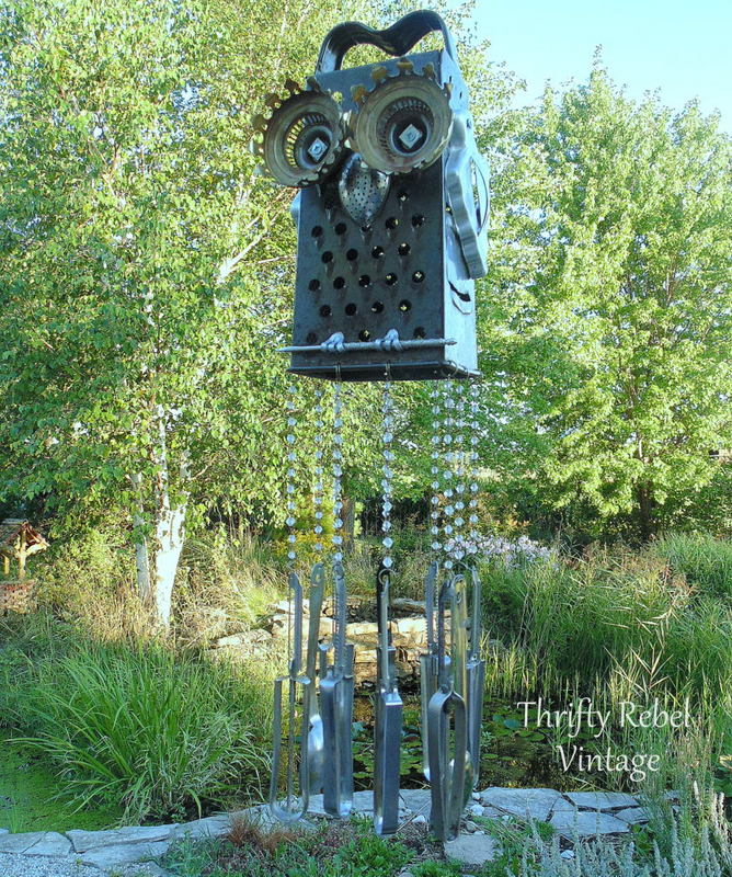 repurposed grater owl wind chime