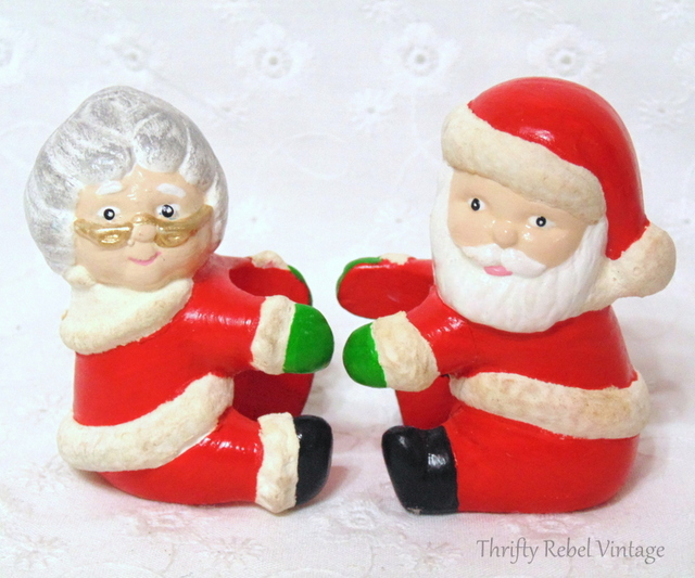 vintage Santa and Mrs Claus Candle Huggers