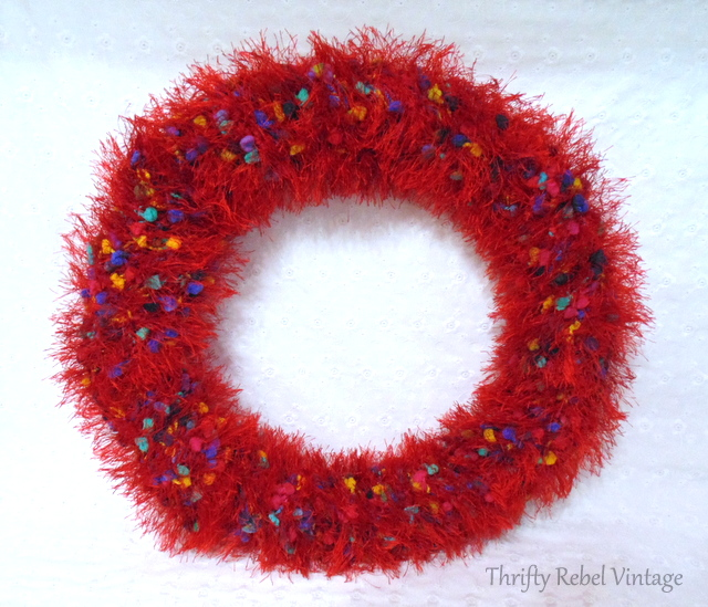 Repurposed Scarf Wreath