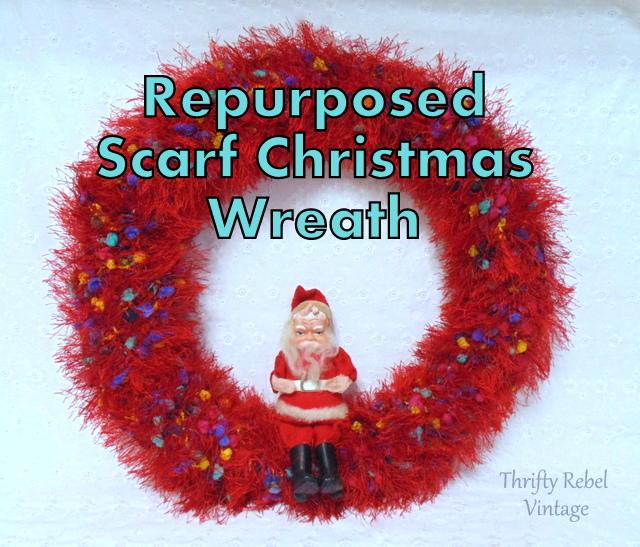 Repurposed Scarf Christmas Wreath