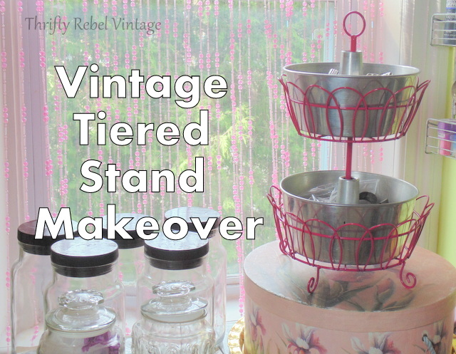 Vintage tiered stand makeover with vintage bakeware