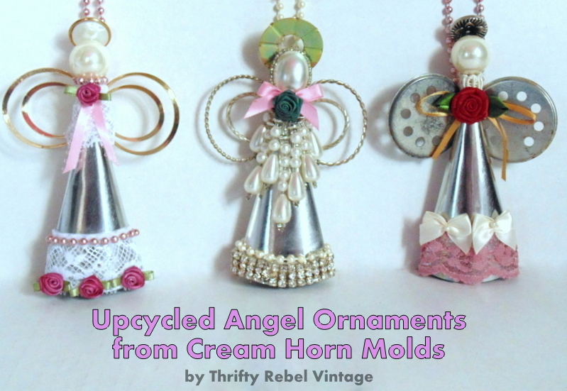 upcycled angel ornaments from cream horn molds