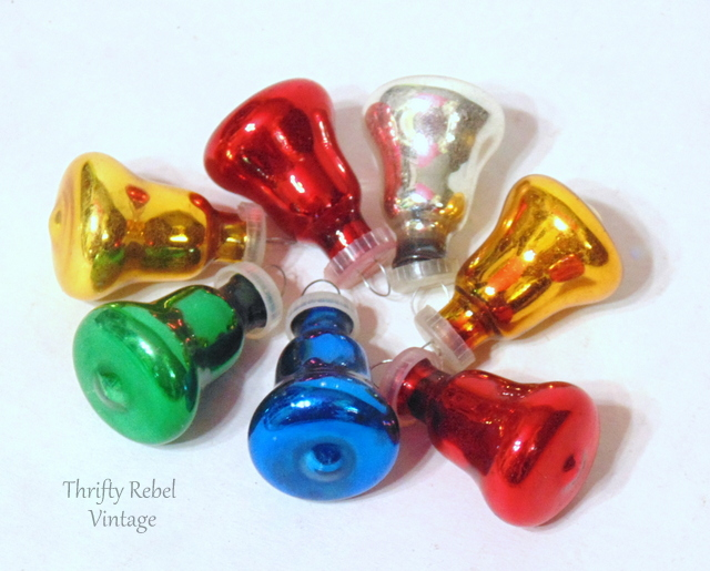 vintage miniature glass Christmas bell ornaments