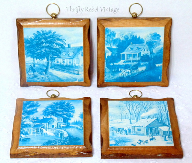 set of 4 blue and white wall plaques