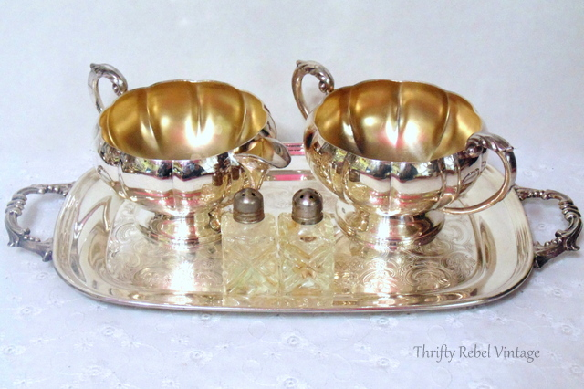 silver cream and sugar set and mini crystal salt and pepper