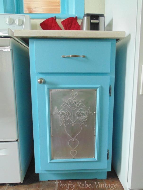 kitchen cabinet makeover aqua after