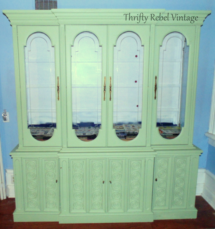 hot pink china cabinet makeover