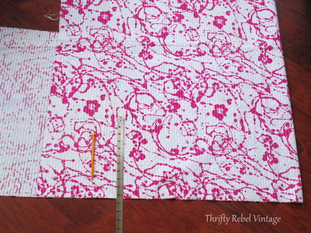 cutting fabric for hot pink china cabinet makeover