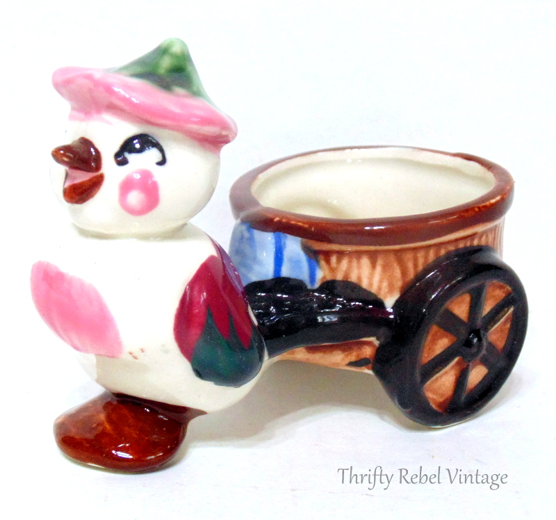 vintage bird and cart planter