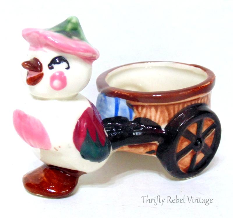 vintage bird and cart planter