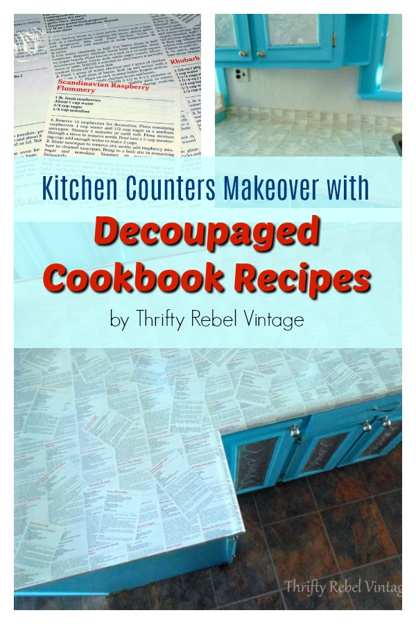 How to decoupage kitchen counters with cookbook recipes
