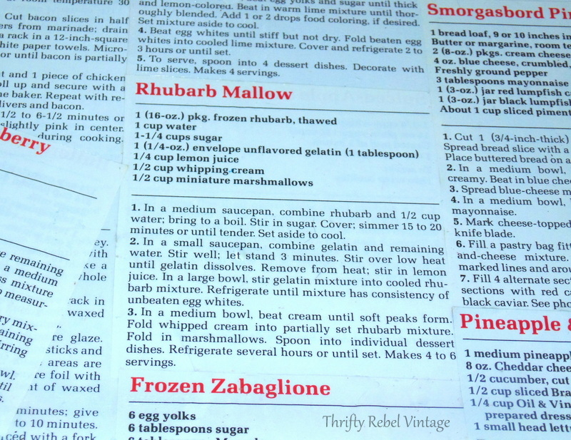 Rhubarb Mallow recipe on decoupaged kitchen counter