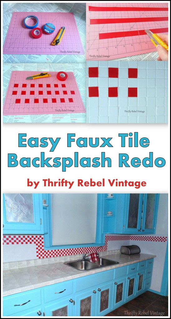 Faux Tile Kitchen Backsplash Makeover