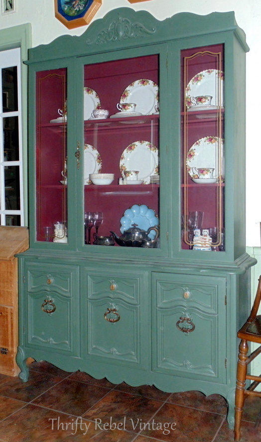 kitchen china cabinet makeover / thriftyrebelvintage.com