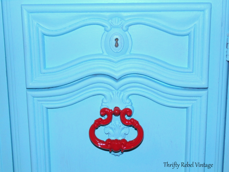 red painted handles for kitchen china cabinet makeover
