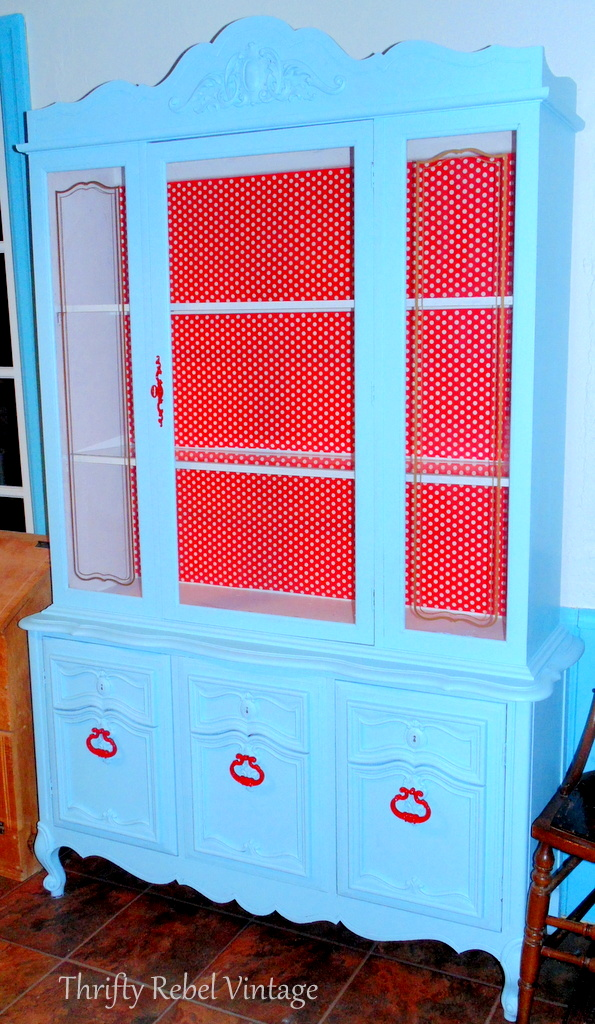 aqua and red kitchen china cabinet makeover
