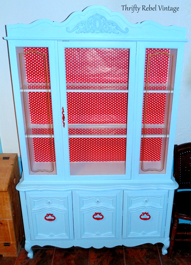blue and red kitchen china cabinet makeover