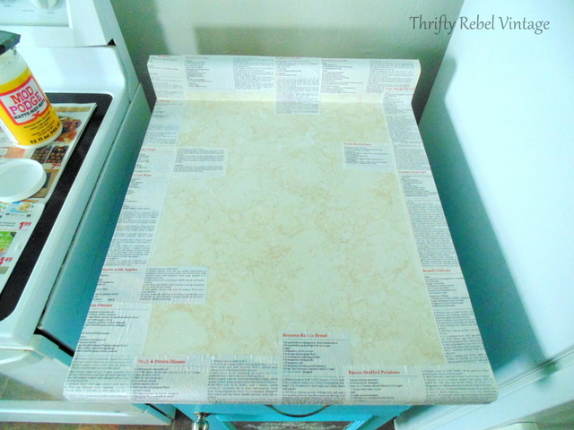 decoupaging recipes on kitchen counter