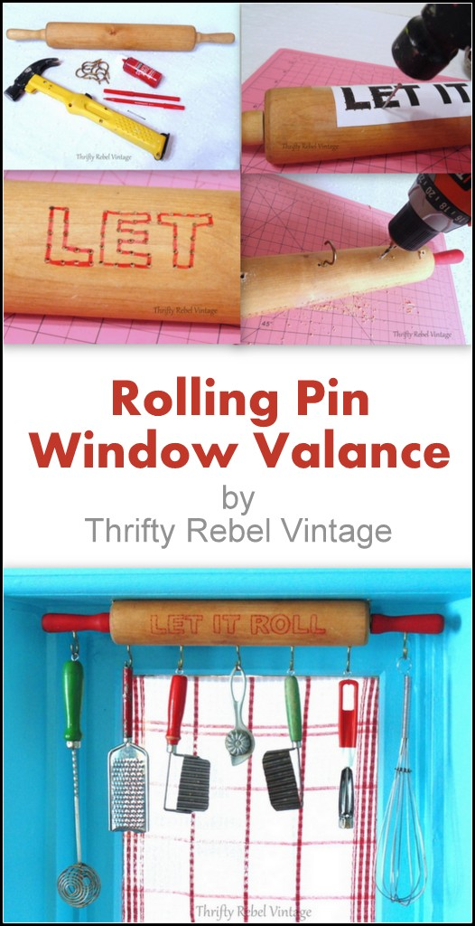 repurposed rolling pin window valance / thriftyrebelvintage.com
