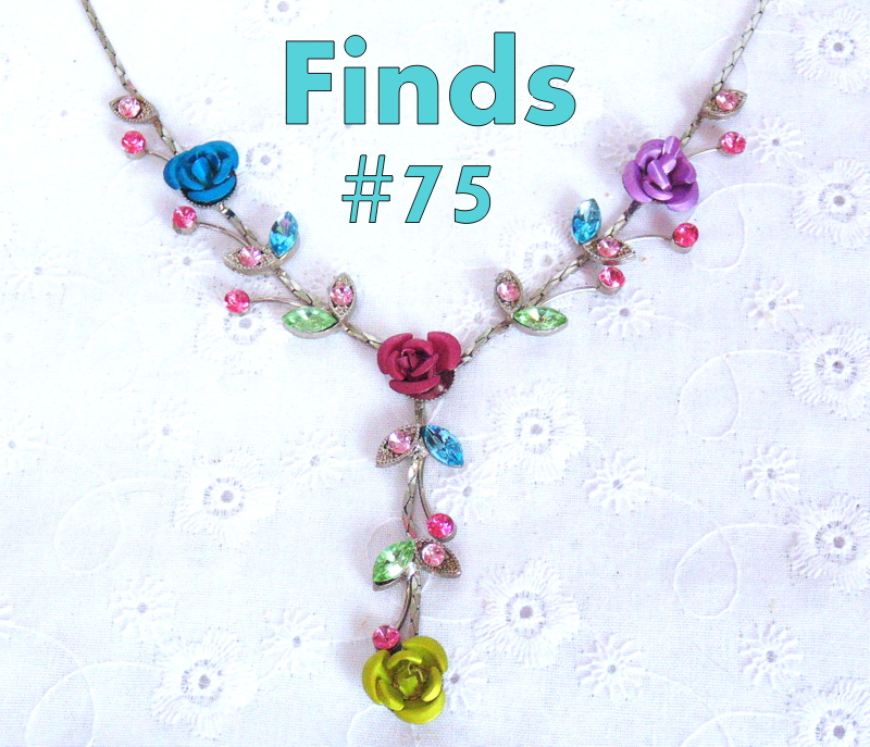 metal flower and rhinestone necklace /.thriftyrebelvintage.com