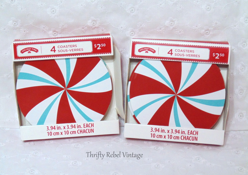 aqua and red pinwhell coasters