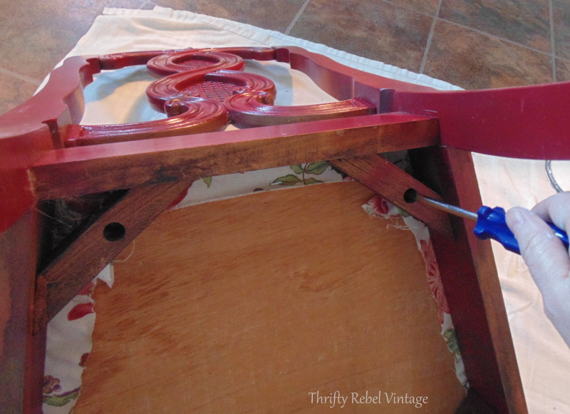removing seat for kitchen chairs makeover