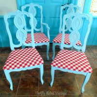 Repurposed Tablecloth Kitchen Chairs Makeover