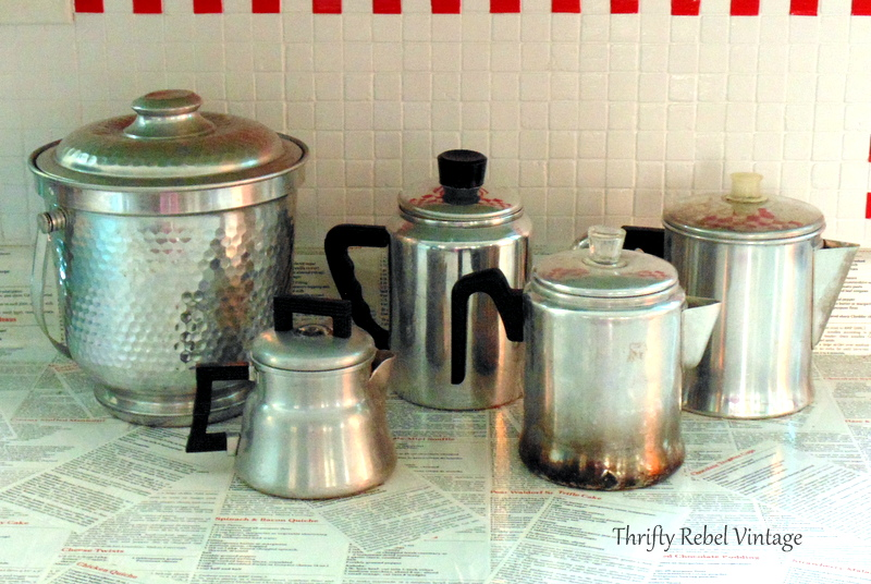 repurposed vintage coffee pots kitchen storage