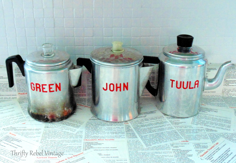 vintage repurposed coffee pots kitchen storage