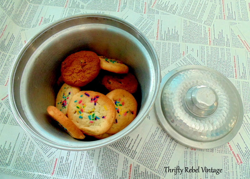 Repurposed vintage ice bucket cookie jar