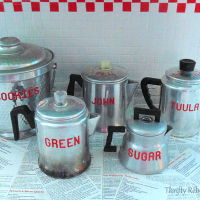 vintage repurposed coffee pot kitchen storage
