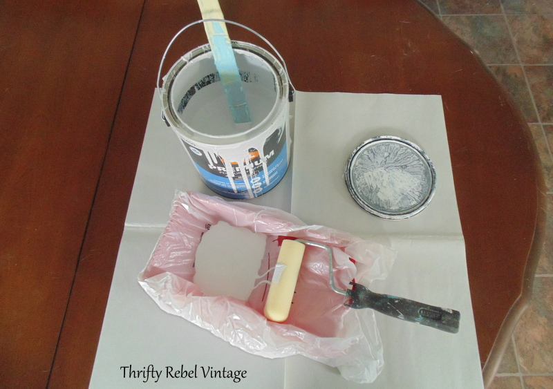 painting the wood for kitchen table makeover