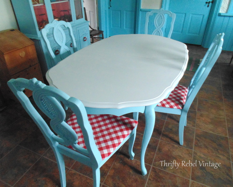 base coat of white paint for kitchen table makeover