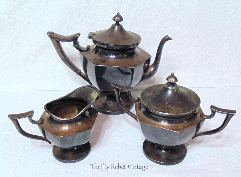 vinatge silver teapot set