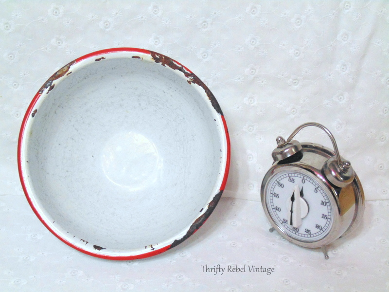 vintage enamel bowl and stainless steel kitchen timer