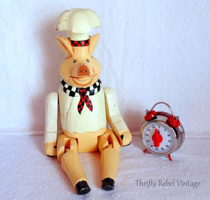 wooden pig chef and kitchen timer