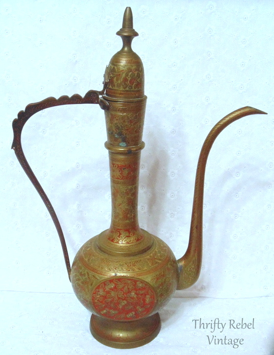 vintage decorated brass carafe made in India