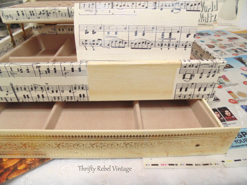 decoupaged sheet music jewelry box makeover