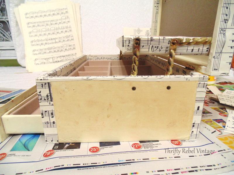 decoupaged sheet music jewelry box makeover
