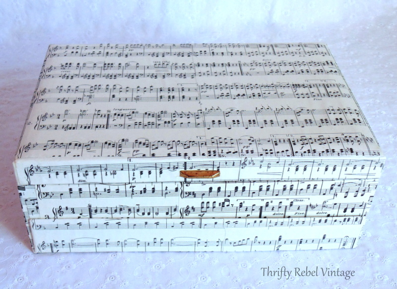 decoupaged music sheet jewelry box makeover