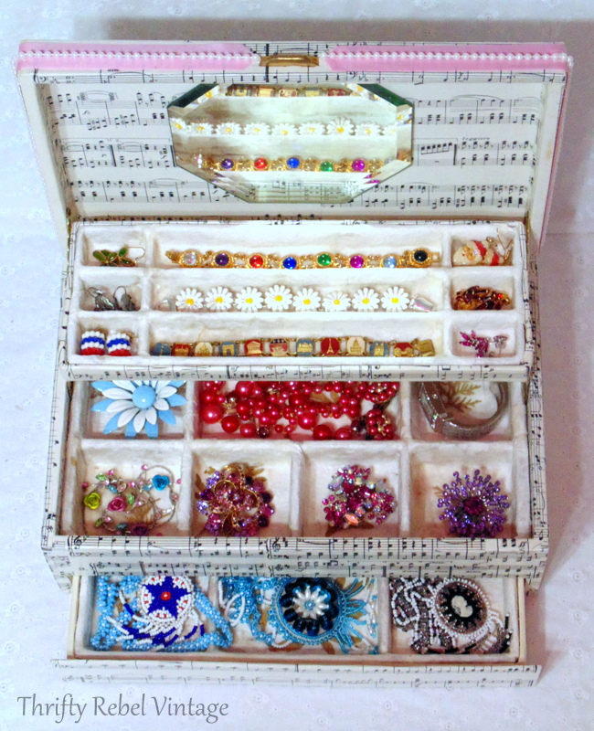 decoupaged music sheet vintage jewelry box makeover