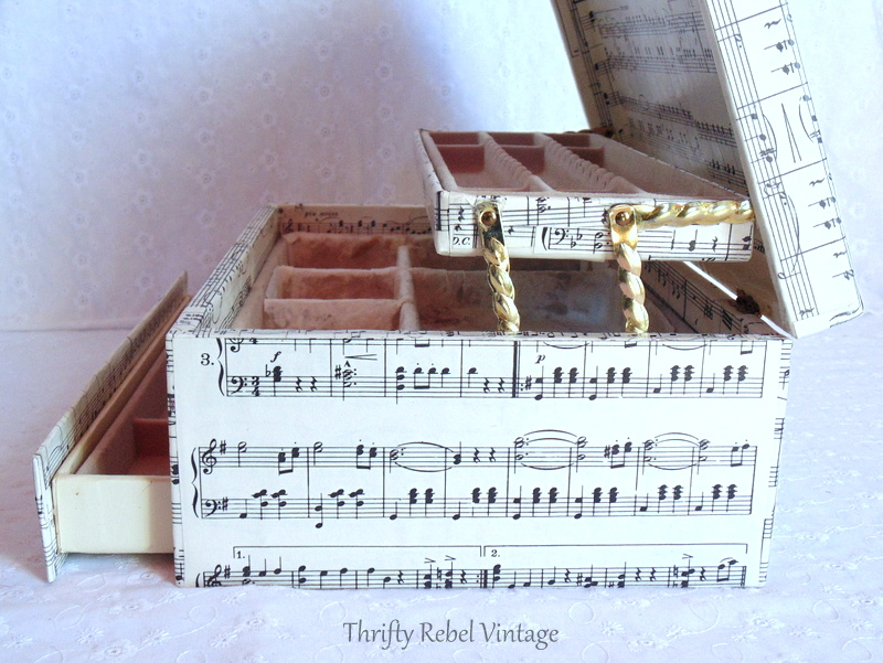 decoupaged sheet music vintage jewelry box makeover