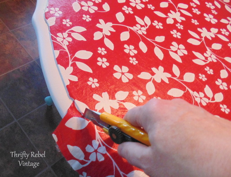 trimming vinyl tablecloth for kitchen table makeover