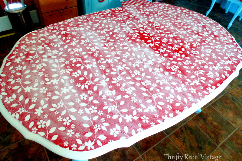 coating vinyl tablecloth with mod podge for kitchen table makeover