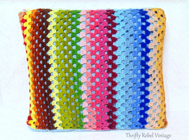 striped hand crocheted pillow front