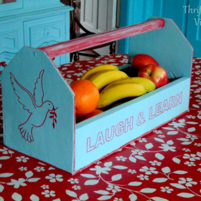 wooden tool caddy makeover