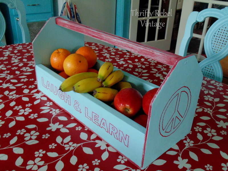 faux redwork wooden tool caddy makeover