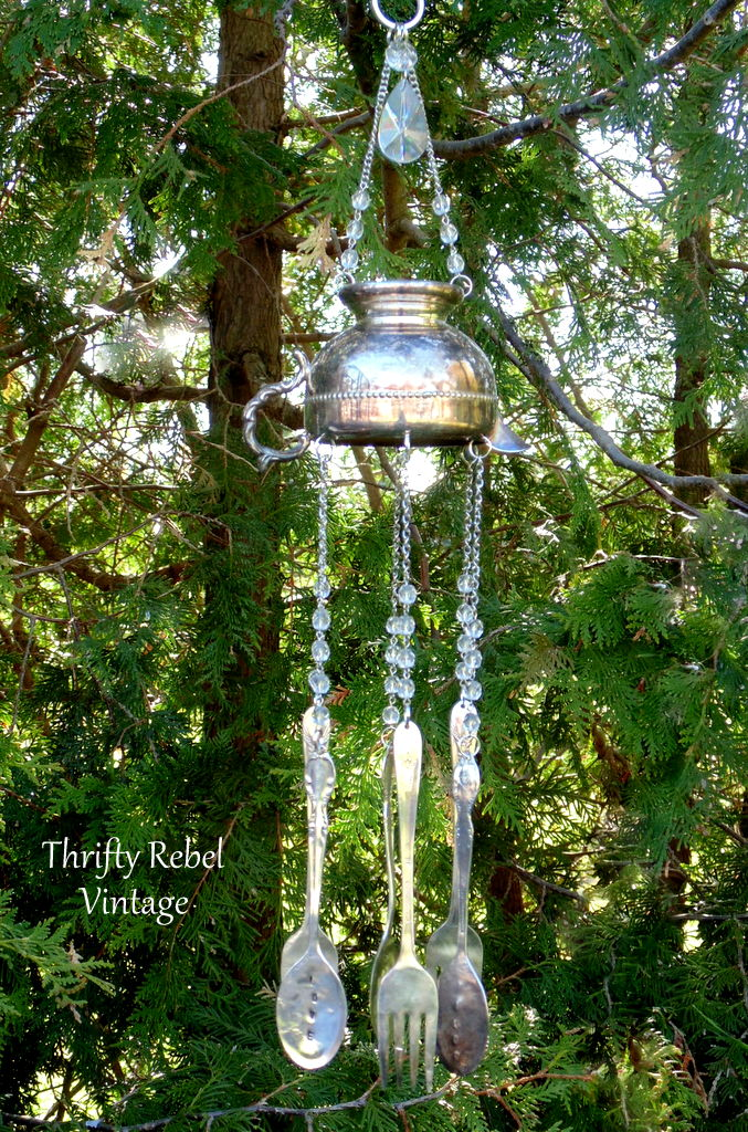 repurposed silver creamer wind chime