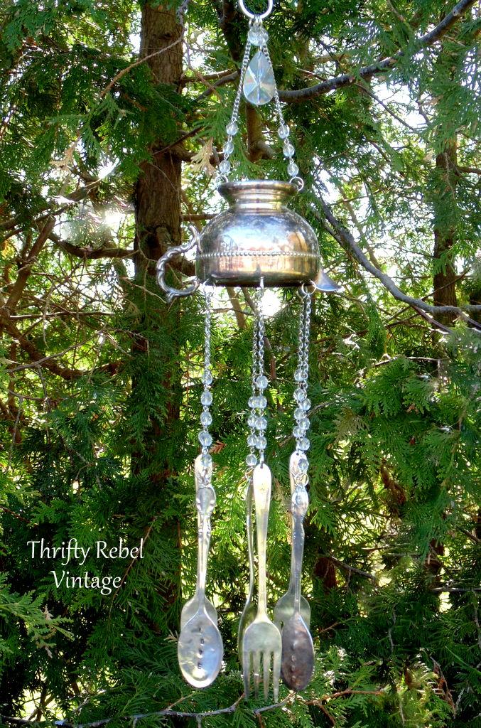 repurposed silver creamer wind chime