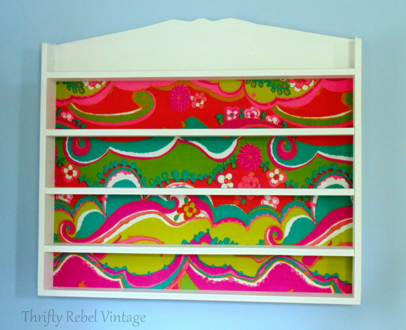 funky fabric pine shelf makeover